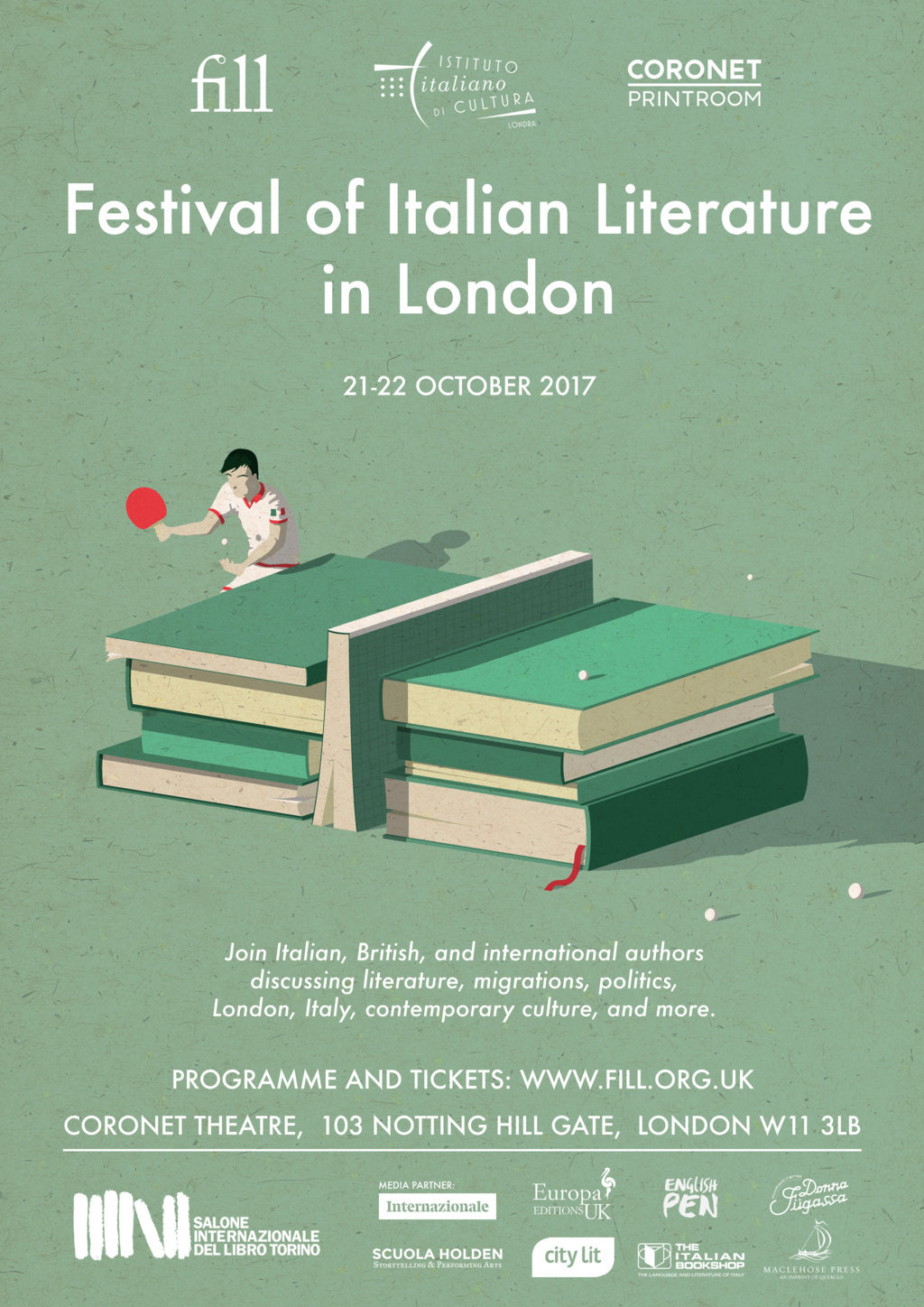 Festival of Italian Literature in London 21/22 October @ Coronet, Notting Hill